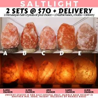 🚚 AUTHENTIC HIMALAYAN SALT LAMPS | 84 MINERALS BENEFICIAL TO HUMAN BODY | 2 SETS FOR ONLY $70 + FREE DELIVERY | NATURAL CLEANSING PROPERTIES | IMPORTED FROM THE HIMALAYAS OF PAKISTAN