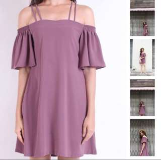 Neonmello off shoulder dress in mauve