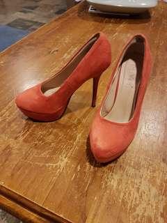 Size 6, Burnt orange suede heels