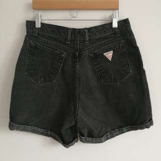Guess High-Rise Black Denim Shorts