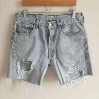 Levi's Mid-Rise Light Wash Distressed Ripped Denim Shorts