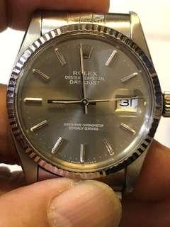 Rolex 鋼1601 灰面3035快跳日曆連五珠原裝厚黹