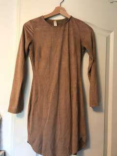 Tight nude suede dress