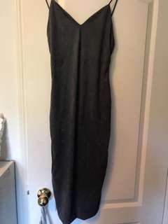Tight long suede dress