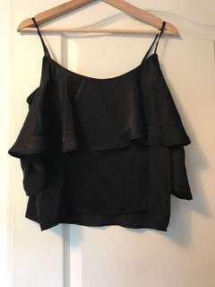 Mendocino off the shoulder black silk blouse