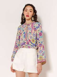 MODPARADE EMBA PRINTED BLOUSE - SAND FLORAL [QUEENDOM]