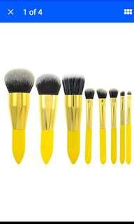 Free NM +MAKEUP SPONGE**Authentic MFY Premium 8pcs Kabuki Makeup Brush Cosmetic Powder Brushes Set Lemon Yellow(instock*1)**SELF COLLECT @ $12