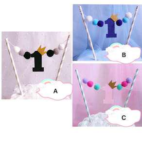 (30/8) Free Normal Mail - Happy Birthday one/ 1st / First  birthday Cake Topper with furry balls / Tags / Baking Supplies/ Cake Decoration