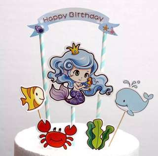 (31/8)  FREE NORMAL MAIL - Happy Birthday Mermaid topper /under the sea theme topper / Tags / Baking Supplies / cake decorations