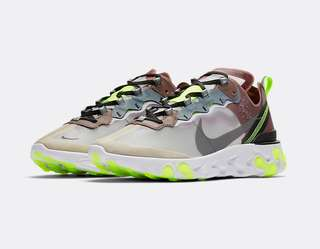 6.5US, 9US, 11US Nike React Element 87 Desert Sand