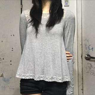 Grey Flowy Long Sleeves Top