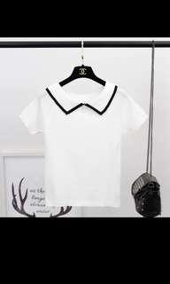 🚚 Korean ulzzang white knitted top