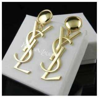 YSL gold logo drop earrings