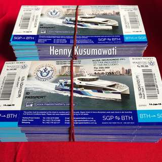 SALE MAJESTIC FAST FERRY 2 WAY PHYSICAL OPEN FERRY TICKETS.( FOR INDONESIAN PASSPORT ONLY)