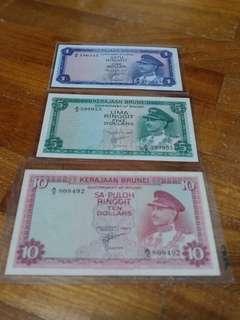🇧🇳🇧🇳Brunei notes $1, $5, $10 (1967)🇧🇳🇧🇳