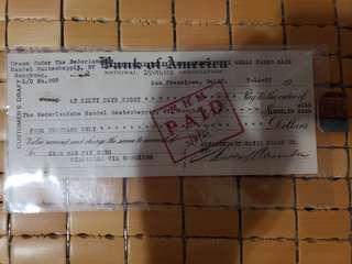 1955年美國銀行支票,匯票新加坡轉香港