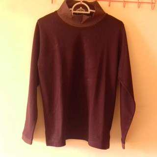 **Brown Mock Neck Sweater