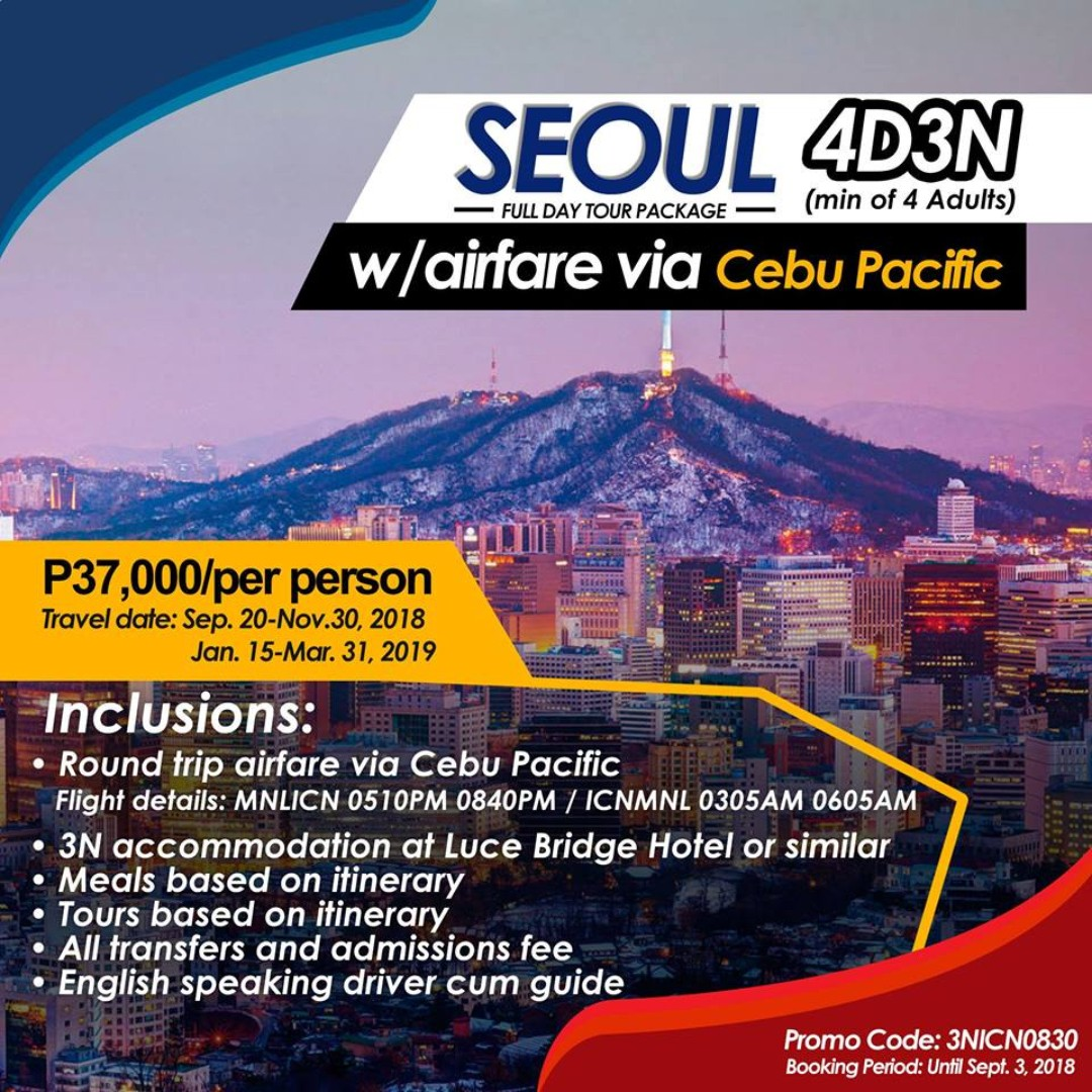 4d3n Seoul Full Day Tour Package W Airfare Tickets Vouchers Korea Winter Attractions On Carousell