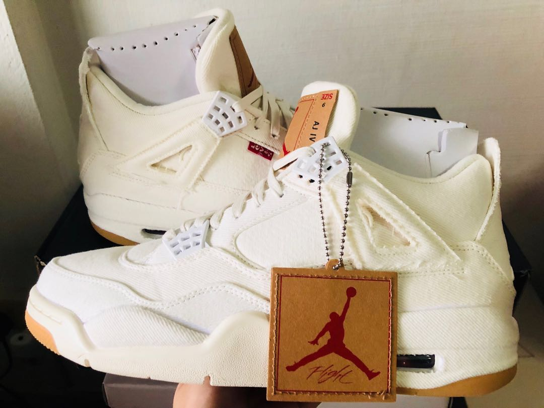 outlet store 54a8d f6cf0 Air Jordan 4 Retro x Levi s NRG  White Denim  US 9, Men s Fashion ...
