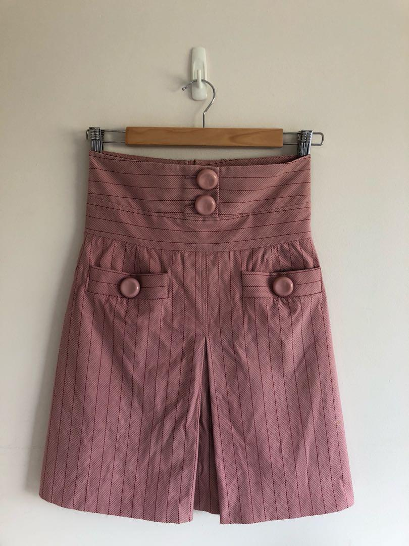 Alannah hill pink high waist pinstripe button front skirt size 8