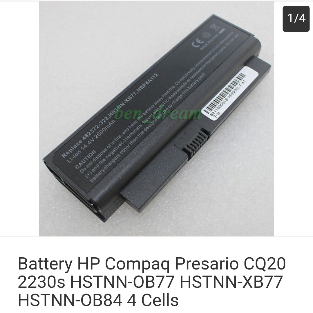 Battery Hp Compaq Presario Cq20 2230s Hstnn Ob77 Xb77 Charger Laptop Ob8 Electronics Computers Others On Carousell