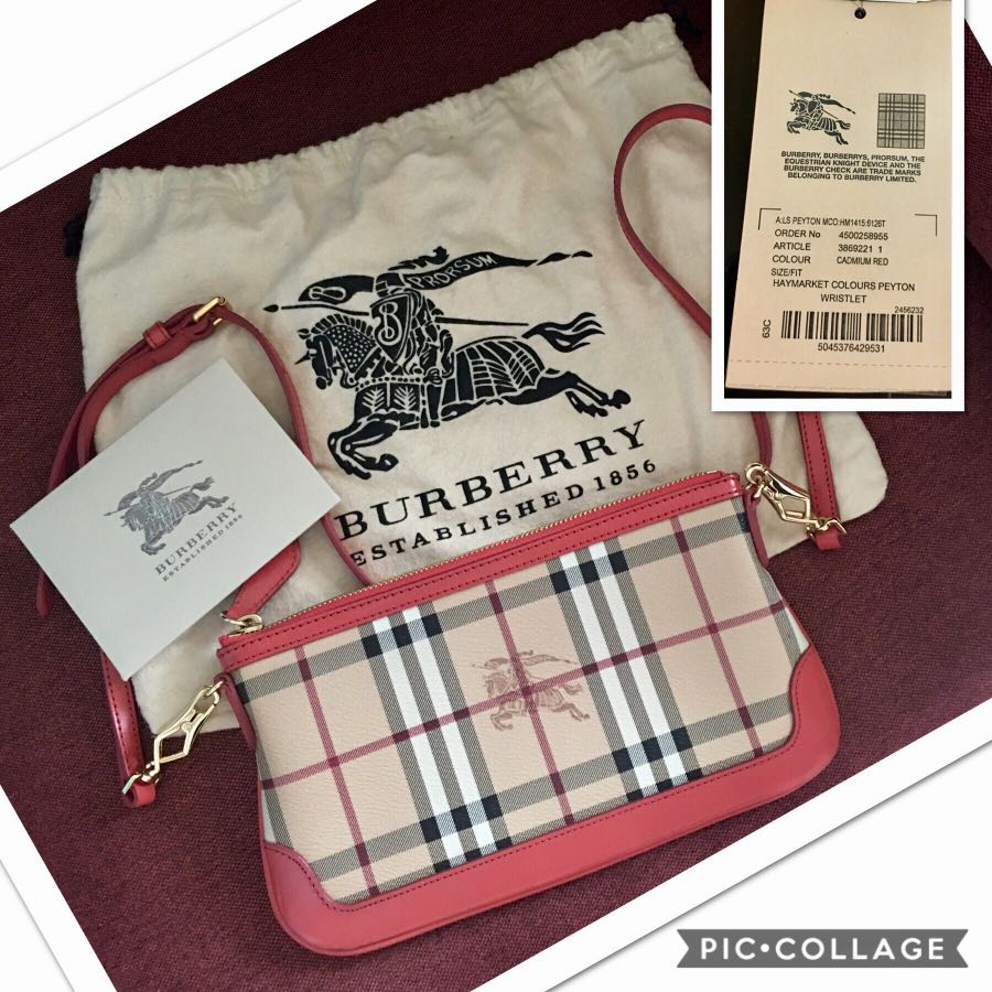 402904711048 Burberry Peyton Haymarket Military Red Leather and Coated Canvas ...