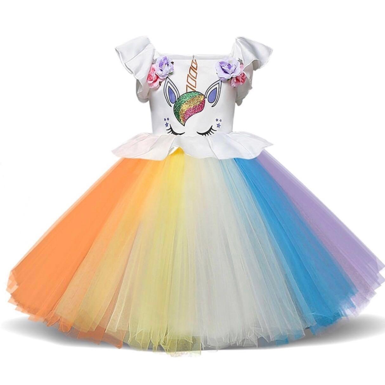 Colourful Rainbow Unicorn Birthday Party Dress Up Costume Halloween ... 347a42fcc621