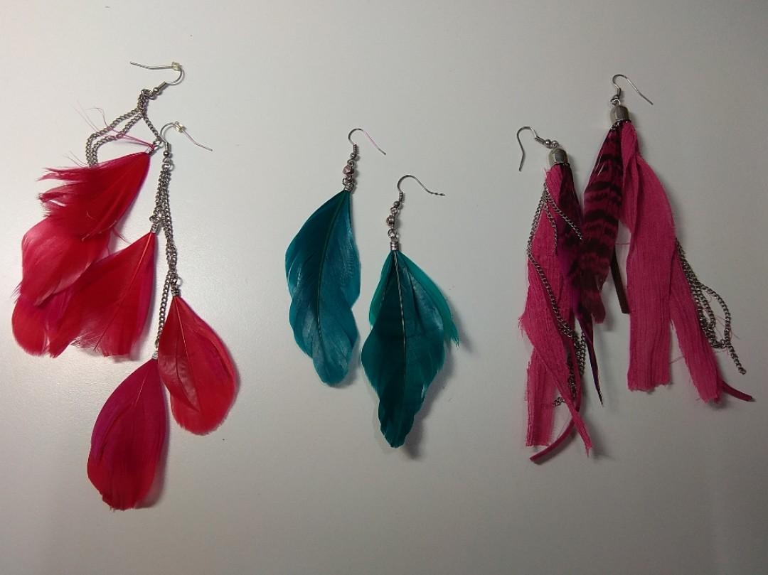 (FREE with purchase) Feather earrings from Old Navy