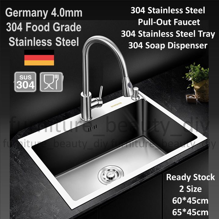 Full Set With Pull Out Faucet 4mm Kitchen Sink 2 Size Home