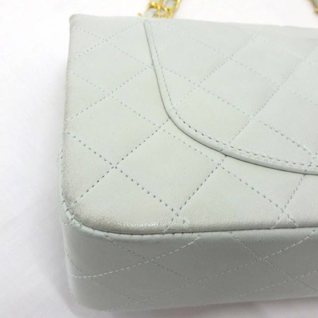 069f9ad35dc5 (Hold) Chanel Baby Blue 2.55 Flap Vintage Handbag With Golden Chain,  Luxury, Bags & Wallets on Carousell
