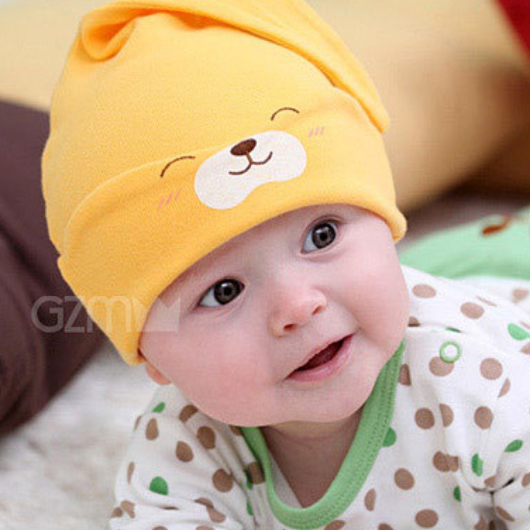 6399b48e6b2d 🌟INSTOCK🌟 Cute Sleeping Yellow Bear Newborn Beanie Hat Cap for ...