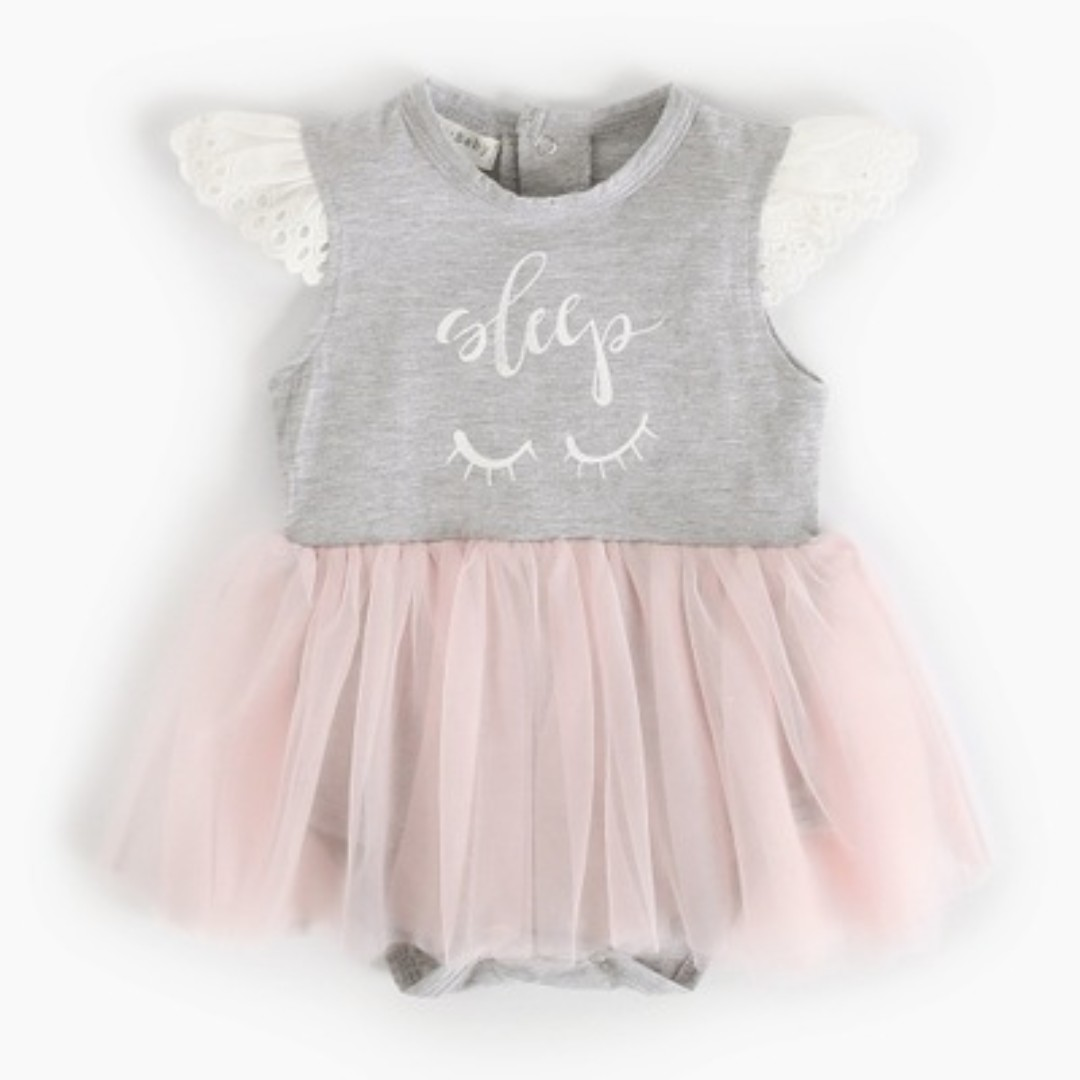 423cdfc49b8 🌟INSTOCK🌟 White Lace Grey Sleep Romper with Pink Tulle Frock ...