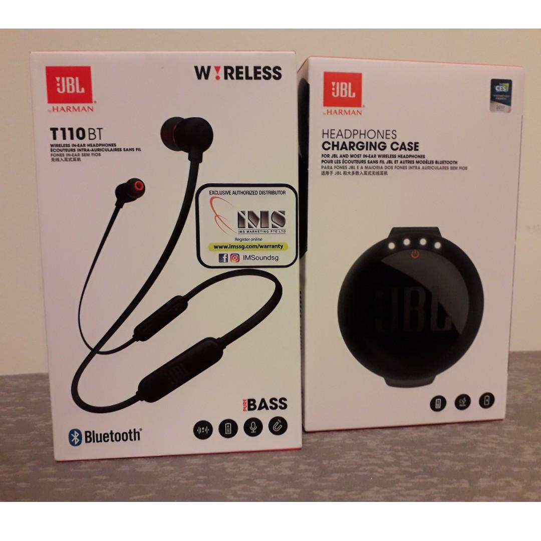 New! - JBL T110BT Wireless Earphones (Black) + Headphones