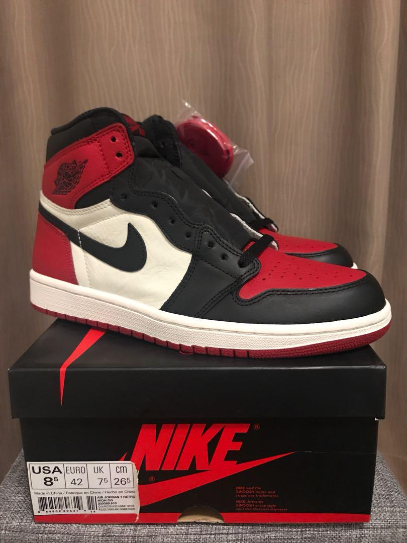 new style new list cheap prices Jordan 1 Bred Toes, Men's Fashion, Footwear, Sneakers on ...