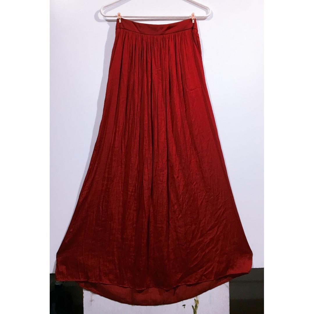 4291e461 New ZARA WOMAN Silky Maxi Skirt Long Maxi Dress Silk Red 全新絲質 ...