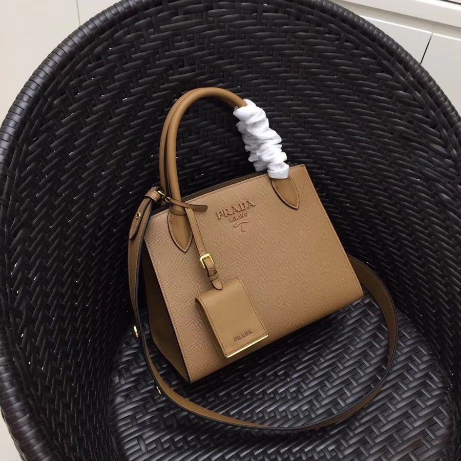 5f68328869aa Prada monochrome saffiano leather bag, Luxury, Bags & Wallets on ...
