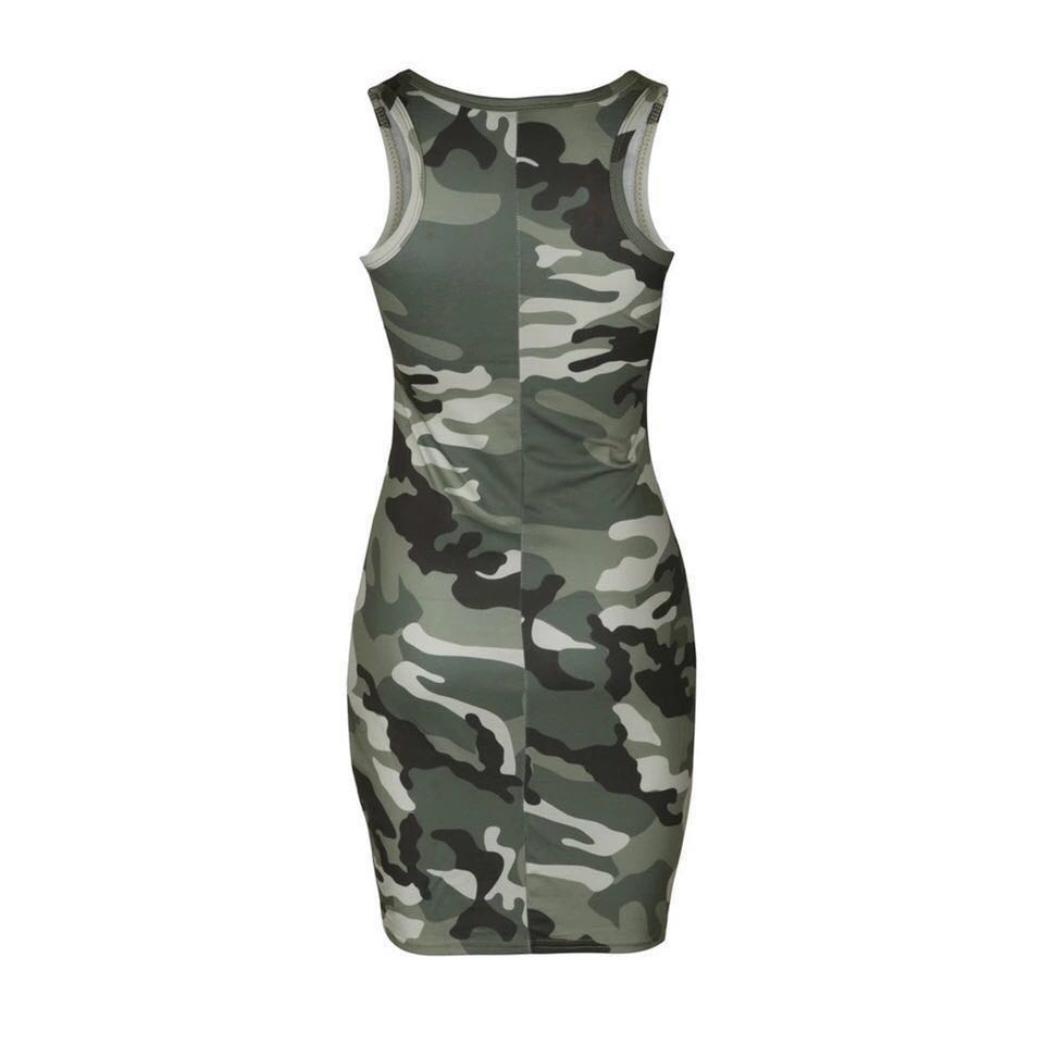 42a3412a1c2a Sexy Sleeveless Camouflage Summer Dress Pencil Women Printed O -Neck ...