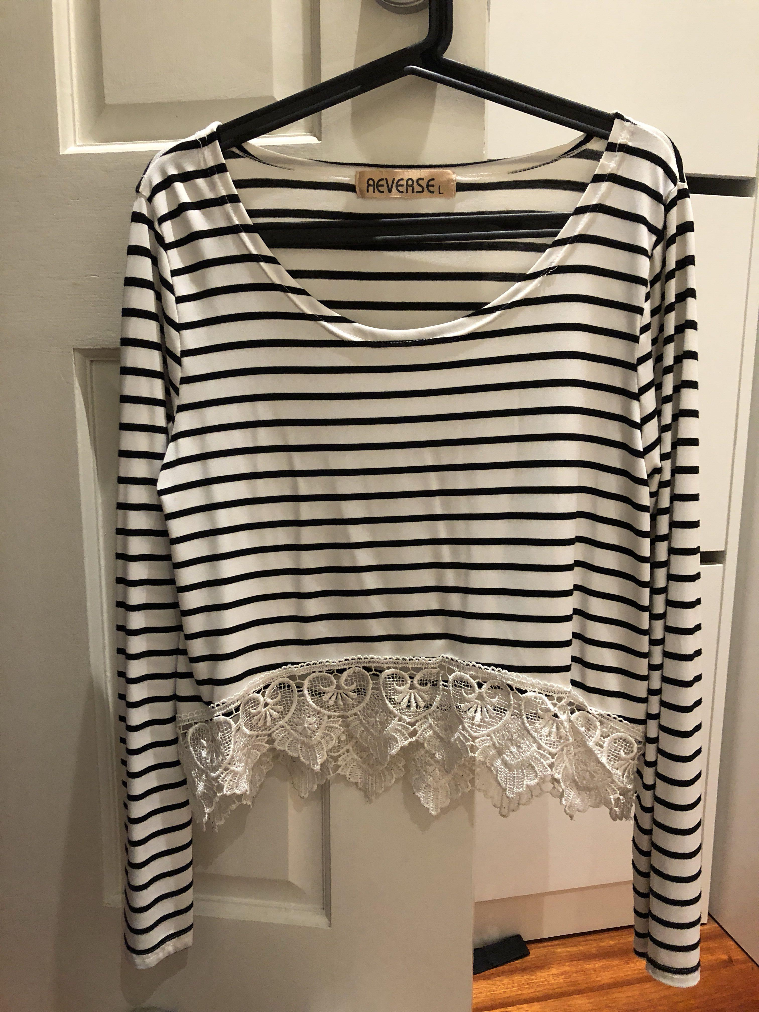 Striped top with lace detailing