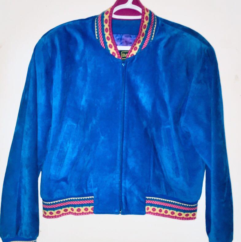 Vintage Danier 1980's Cobalt Blue Suede Bomber Jacket.