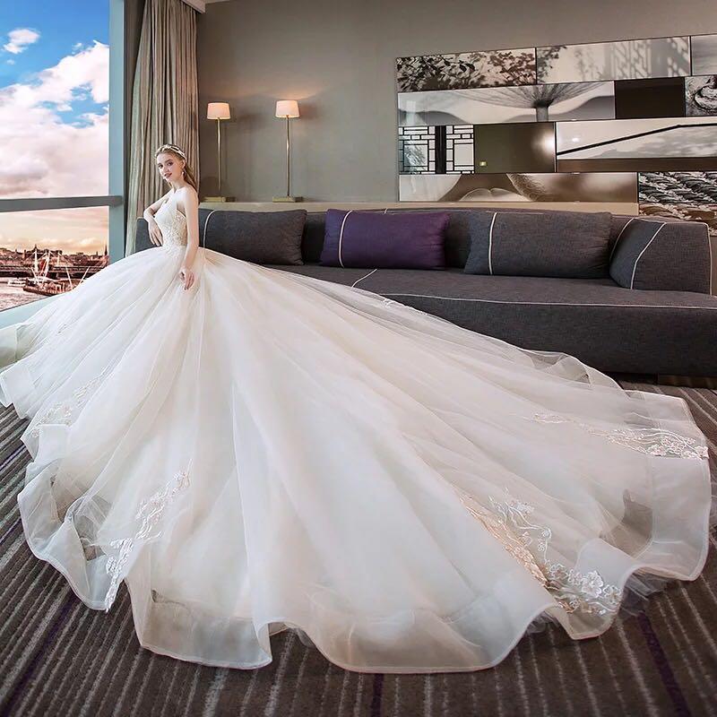 888d9de9def7 Wedding dress bride trailing princess dream European and American ...