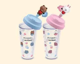 徵收 7-11 Line Friend「友」得斟隨行杯 咖啡杯 雙層杯 熊大 兔兔 brown cony 7-eleven cup glass