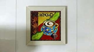 Ceramic Tile In Wooden Frame Art Piece