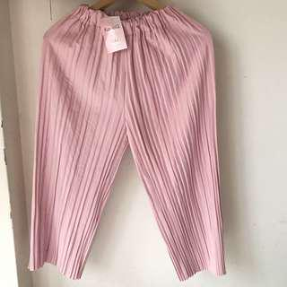 🚚 粉色直條鬆緊褲子