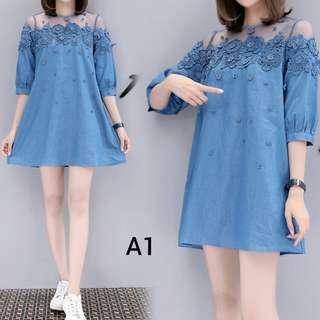 Plus Size Soft Denim Dress - UP to 5XL