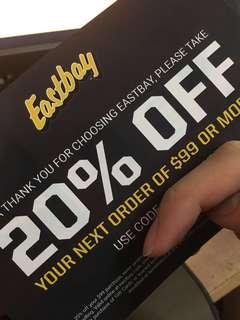 Eastbay 20% off code 八折優惠碼 (買滿USD$99) #噢賣鞋