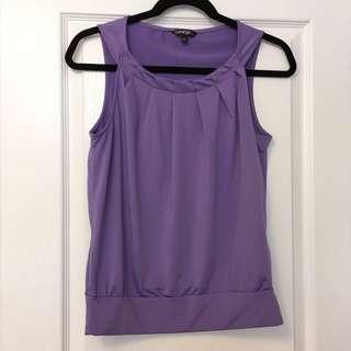 Purple Sleeveless Pleated Top