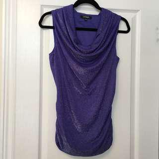 Sparkly Purple Drop-Front Formal Top