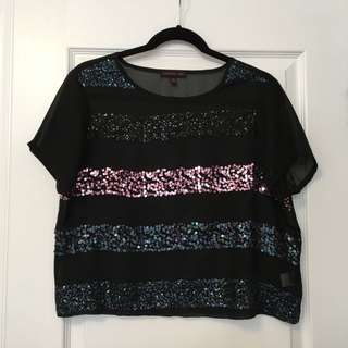 Holographic-Sequin Sheer Black Top