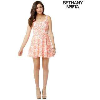 Aeropostale Bethany Mota Printed/Patterned Lace Coral Dress