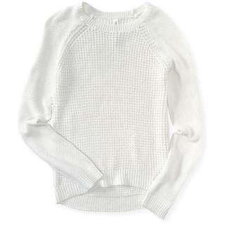 Aeropostale Solid Waffle Knit White Sweater